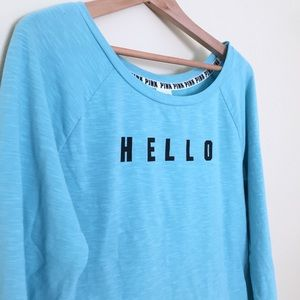 PINK VS / Hello Goodbye graphic pullover